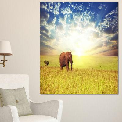 Designart Savannah Elephant In Grassland Extra Large African Canvas Art Print - 3 Panels