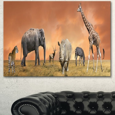 Designart Savannah Wildlife Panorama African Canvas Art Print