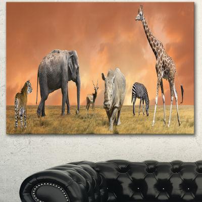 Design Art Savannah Wildlife Panorama African Canvas Art Print - 3 Panels