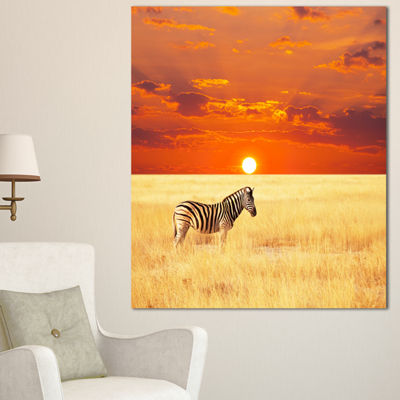 Designart Scenic African View With Zebra Extra Large Landscape Canvas Art