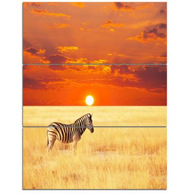 Designart Scenic African View With Zebra Extra Large Landscape Canvas Art - 3 Panels