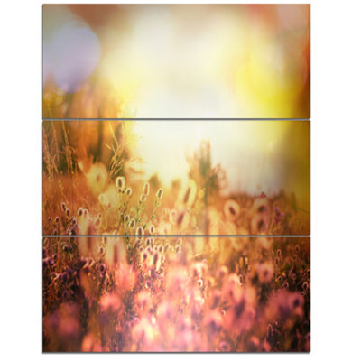 Designart Scenic Meadow Over Mountains Extra LargeLandscape Canvas Art - 3 Panels