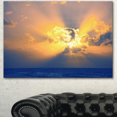 Designart Scenic Yellow Sunset In Ocean OversizedLandscape Canvas Art
