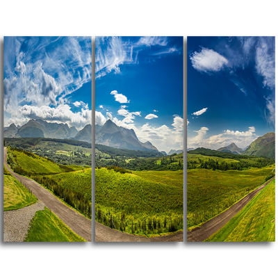 Designart Scottish Highlands Panoramic View Landscape Triptych Canvas Art Print