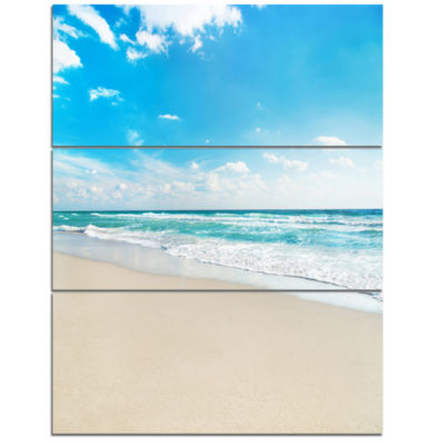 Designart Sea Beach Against Wave Foaming SeashoreTriptych Canvas Art Print