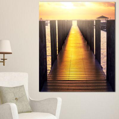 Design Art Sea Bridge With Sunset Reflection Seashore Canvas Art Print - 3 Panels