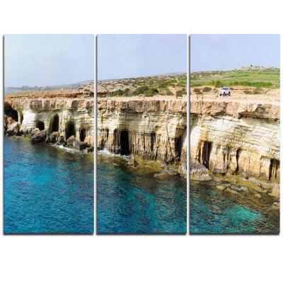 Designart Sea Caves Near Cape Greko Panorama Modern Seascape Triptych Canvas Artwork
