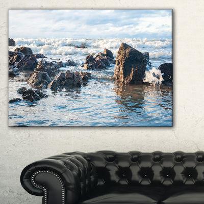 Designart Sea Foam In Empty Rocky Seaside Large Seascape Art Canvas Print