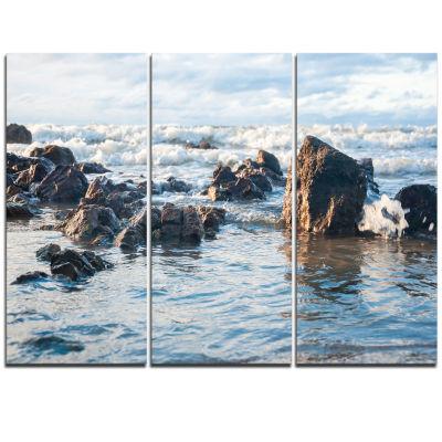 Designart Sea Foam In Empty Rocky Seaside Large Seascape Art Triptych Canvas Print