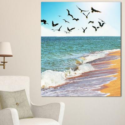 Design Art Sea Gulls Over The Seashore Seashore Canvas Art Print