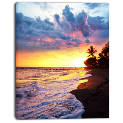 Designart Sea Sunset In Olympic Park Coast Large Seashore Canvas Print