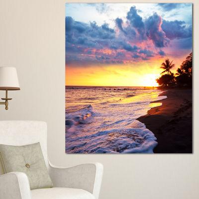 Designart Sea Sunset In Olympic Park Coast Large Seashore Canvas Print - 3 Panels