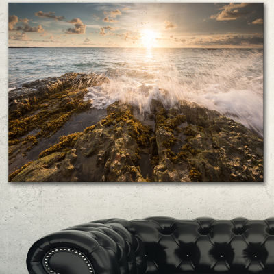 Design Art Sea Waves Impact On Rocky Shore Beach Photo Canvas Print - 3 Panels