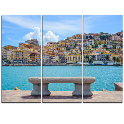 Designart Seafront Bench In Port Santo Stefano Extra Large Seashore Triptych Canvas Art
