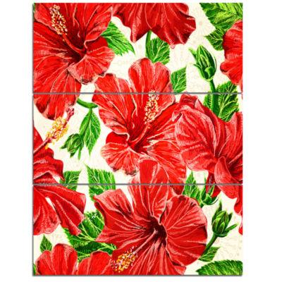 Designart Seamless Hibiscus Flowers Pattern LargeFloral Wall Art Triptych Canvas