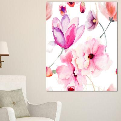 Designart Seamless Pattern Of Pink Flowers Large Flower Canvas Wall Art