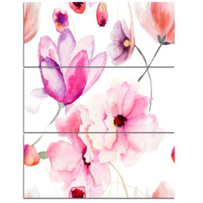 Designart Seamless Pattern Of Pink Flowers Large Flower Triptych Canvas Wall Art