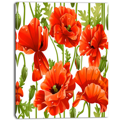 Designart Seamless Pattern Of Red Poppies Floral Canvas Art Print