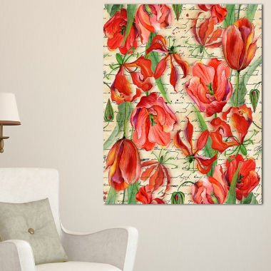 Designart Seamless Red Flower Pattern Floral Canvas Art Print