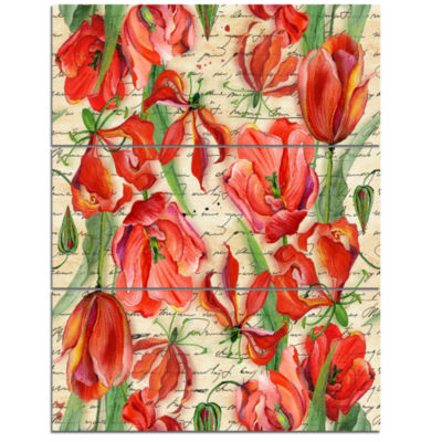 Designart Seamless Red Flower Pattern Floral Triptych Canvas Art Print