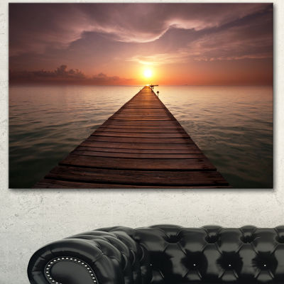 Designart Seashore Boardwalk Into The Sun SeashoreCanvas Art Print - 3 Panels