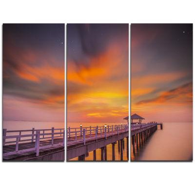 Designart Seashore With Long Wooden Pier Pier Seascape Triptych Canvas Art Print