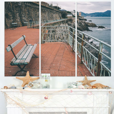 Designart Seating In Genoa Nervi Coast Extra LargeSeashore Triptych Canvas Art