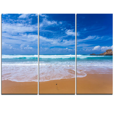 Designart Serene Atlantic Seashore Portugal Seascape Triptych Canvas Art Print