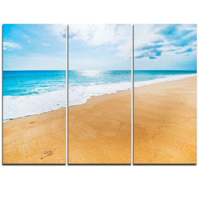 Designart Serene Beach And Sun Daylight Modern Beach Triptych Canvas Art Print