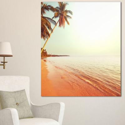 Designart Serene Beach With Huge Palm Trees BeachPhoto Canvas Print - 3 Panels