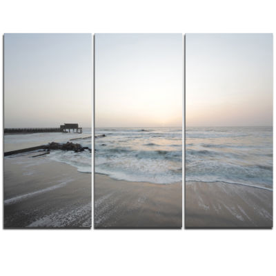 Designart Serene Blue Beach With White Sun ModernBeach Triptych Canvas Art Print