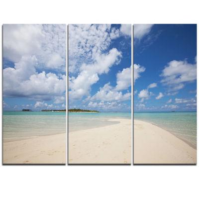 Designart Serene Maldives Beach Under Clouds ExtraLarge Seascape Art Triptych Canvas