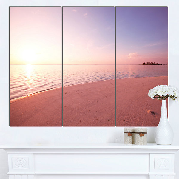 Designart Serene Maldives Seashore At Sunset Oversized Landscape Canvas Art - 3 Panels