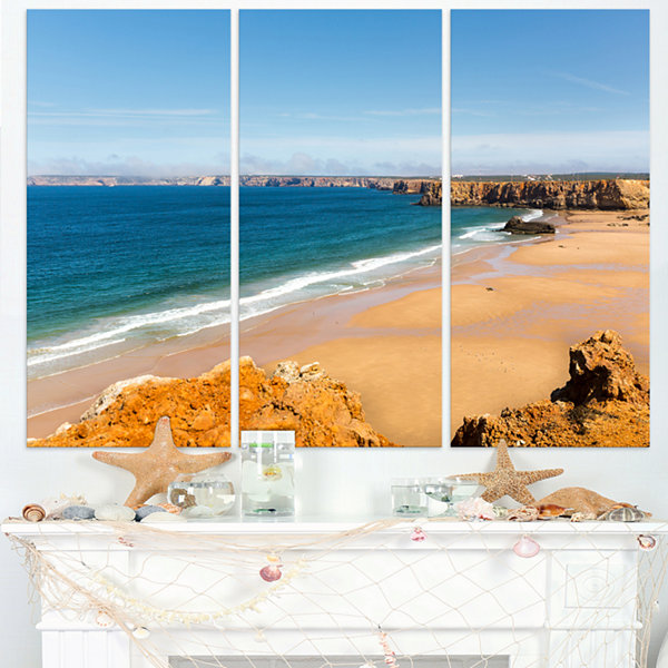 Design Art Serene Rocky Bay Portugal Extra Large Seashore Triptych Canvas Art
