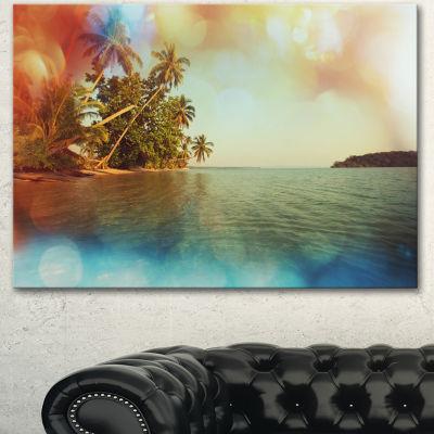 Designart Serene Tropical Beach With Palms Seashore Canvas Art Print - 3 Panels