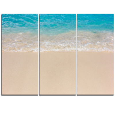 Designart Serene White And Blue Waters Large Seashore Triptych Canvas Print