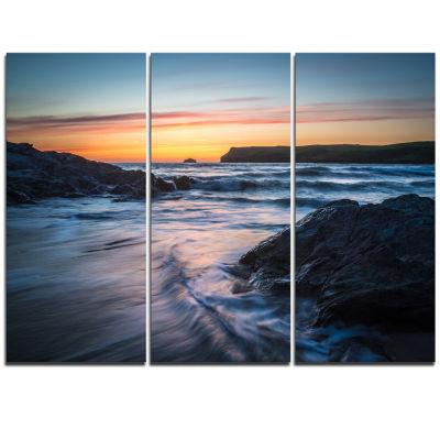 Designart Setting Sun At Polzeath Beach Modern Seascape Triptych Canvas Artwork