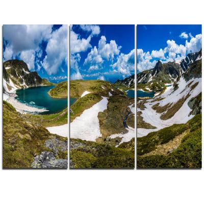 Designart Seven Rila Lakes In Bulgaria Landscape Triptych Canvas Art Print