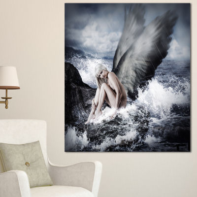 Designart Woman With Angel Oversized Abstract Canvas Art