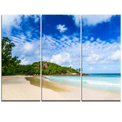 Designart Seychelles Tranquil Tropical Beach Modern Seascape Triptych Canvas Artwork