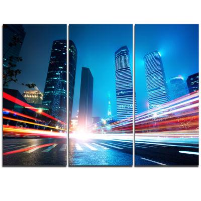 Designart Shanghai Lujiazui Finance At Night Cityscape Triptych Canvas Print