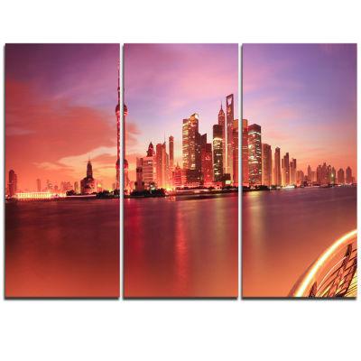 Designart Shanghai Skyline At Dawn Panorama Cityscape Triptych Canvas Print