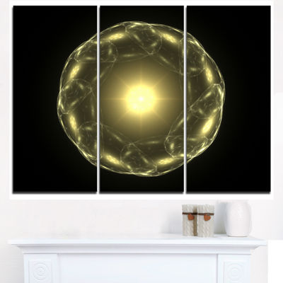Designart Shiny Bright Yellow Radial Fractal Flower Floral Triptych Canvas Art Print