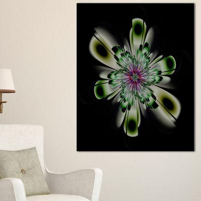 Design Art Shiny Crystal Light Green Fractal FlowerFloral Canvas Art Print