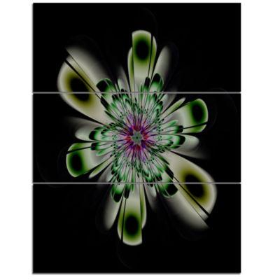 Designart Shiny Crystal Light Green Fractal FlowerFloral Triptych Canvas Art Print