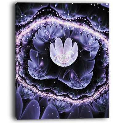 Designart Shiny Fractal Flower With Bokeh EffectFloral Canvas Art Print
