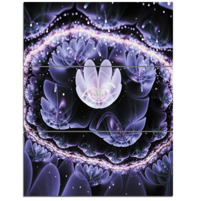 Designart Shiny Fractal Flower With Bokeh EffectFloral Triptych Canvas Art Print