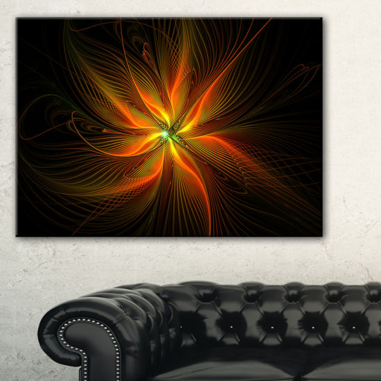 Designart Shiny Golden Yellow Fractal Flower On Black Floral Canvas Art Print