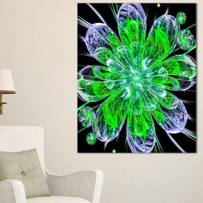 Designart Shiny Green Purple Fractal Flower On Black Floral Canvas Art Print