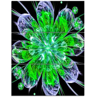 Designart Shiny Green Purple Fractal Flower On Black Floral Triptych Canvas Art Print